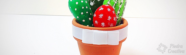 Maceta de cactus realizada con piedras