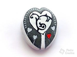 Stone painted white tree of hearts