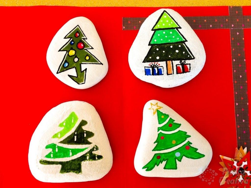 Árboles de navidad pintados