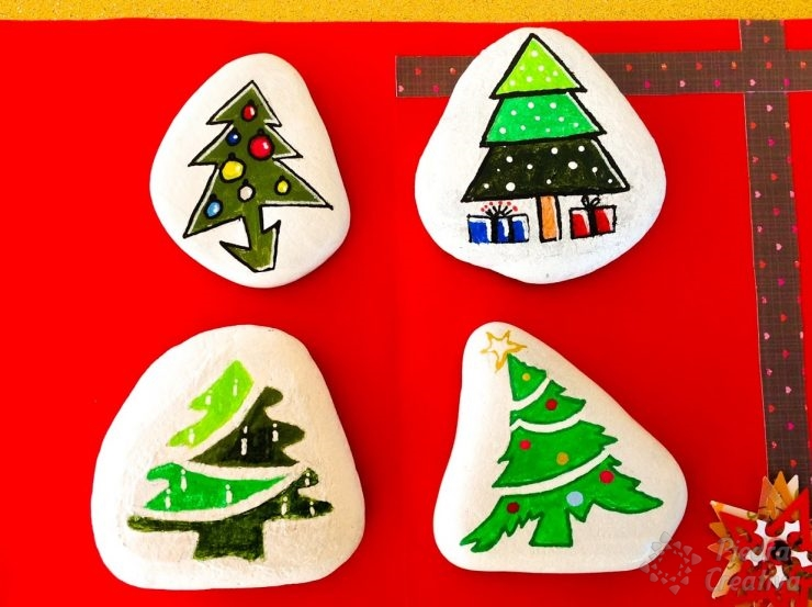 christmas tree painted rocks carolina add comment piedras con rboles de navidad