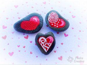 Corazones de San Valentín de piedracreativa