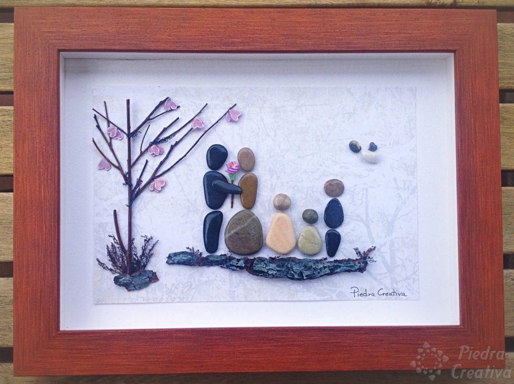 Manualidad para la familia de cuadro de piedras