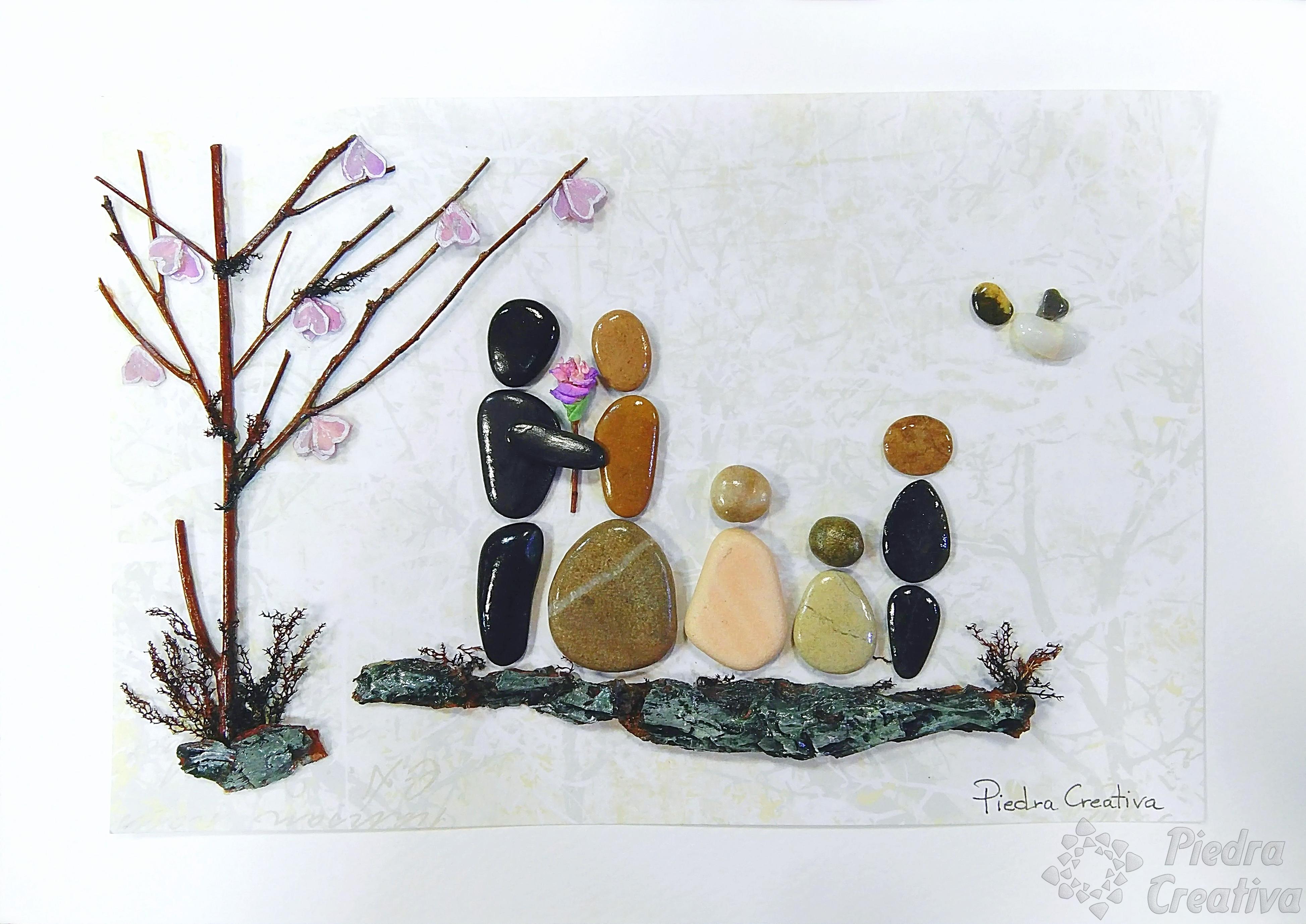 Manualidad para la familia diy original en piedracreativa for Cuadros hechos con piedras