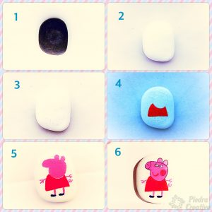 Step by Step Peppa Pig painted in stone