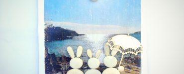 Cuadro de conejitos de piedra y foto transferida