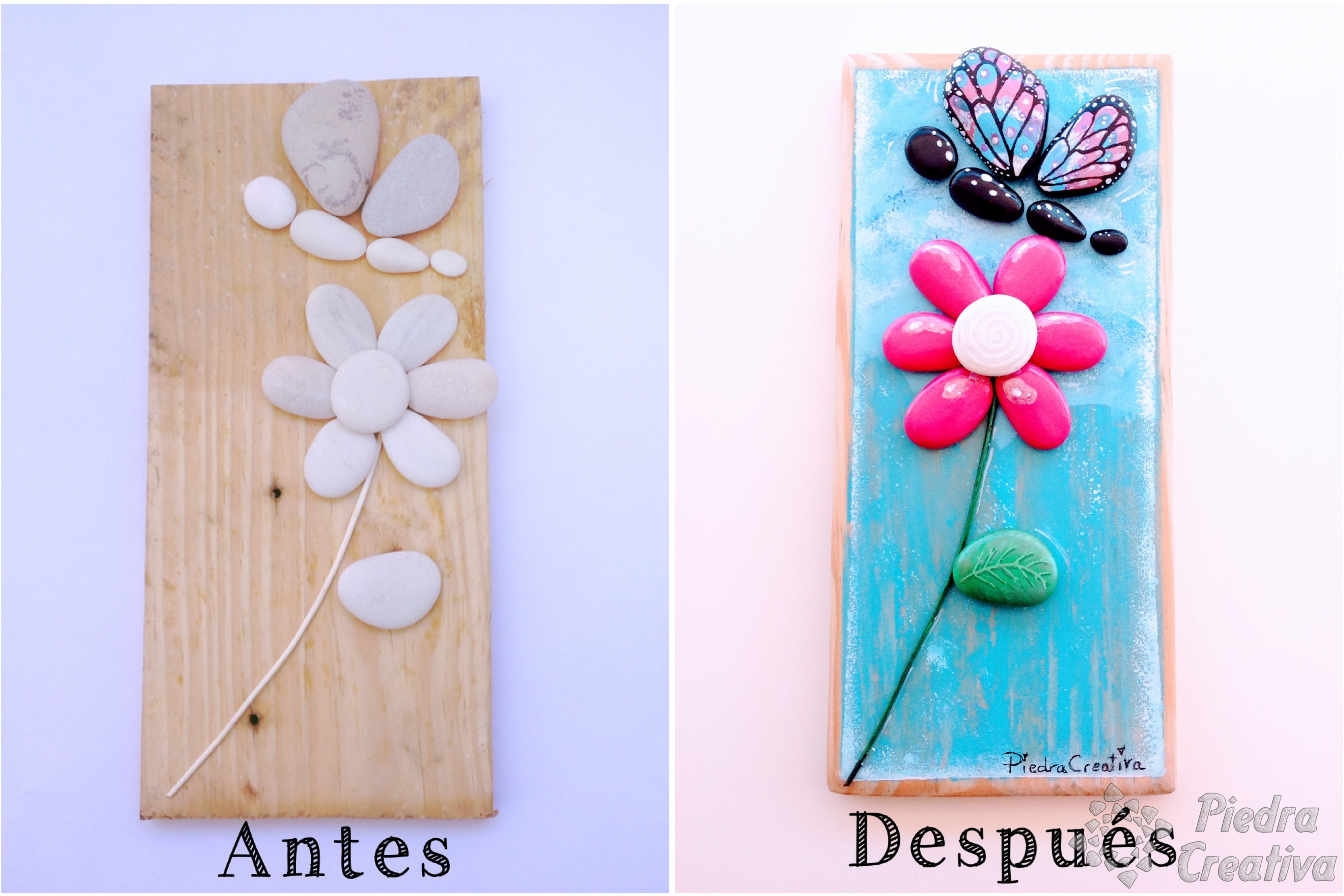 Como pintar flores en piedras diy y manualidades en for Piedras grandes pintadas para jardin