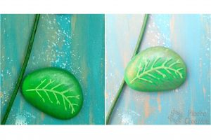 hojas de flor en piedras pintadas piedracreativa 300x200 - How to paint flowers in stones