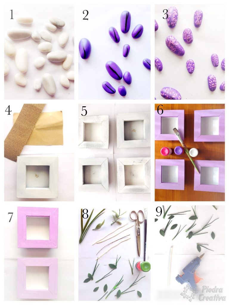 Step by step decorative pictures with stones of PiedraCreativa