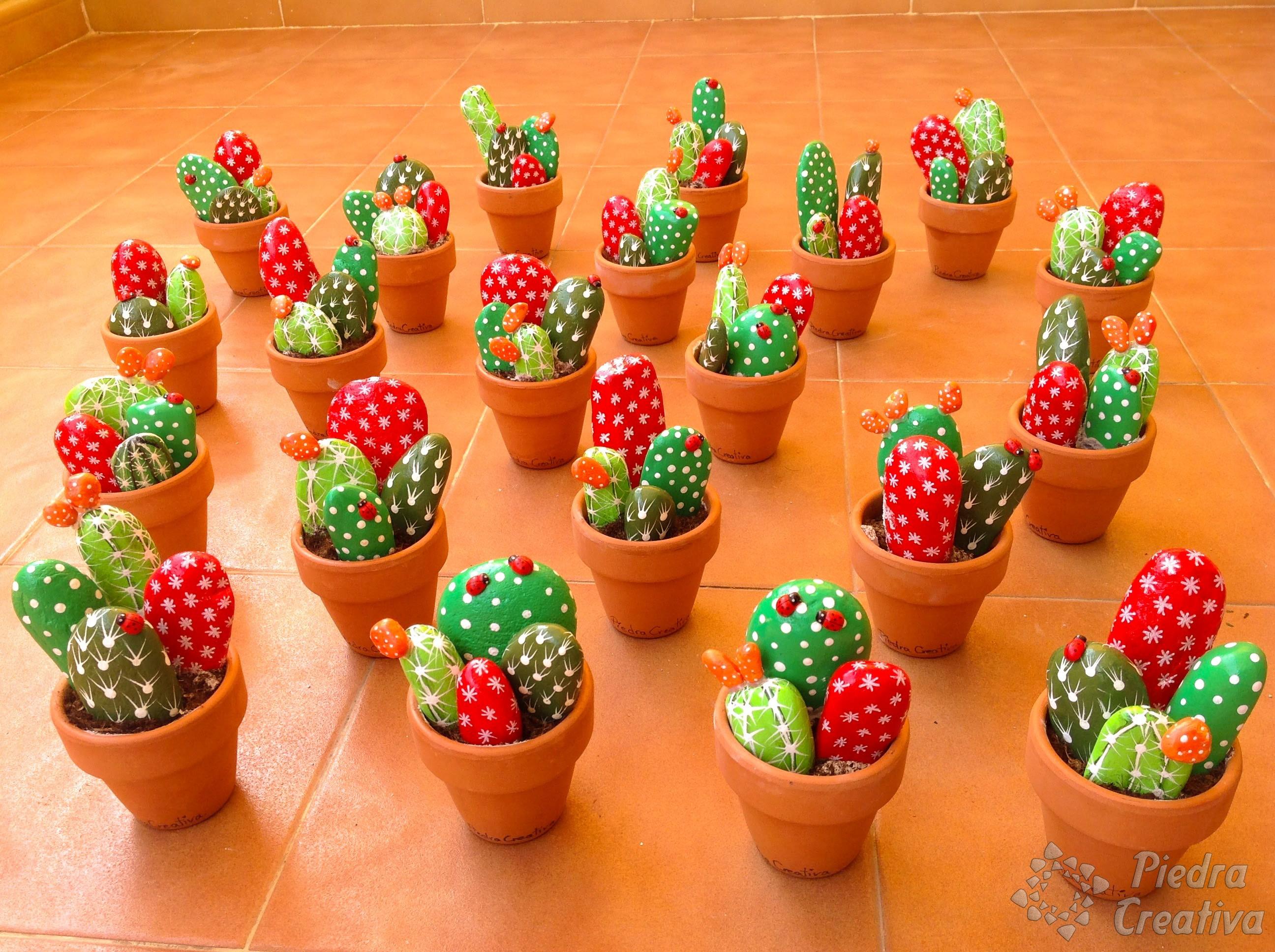 C mo hacer cactus con piedras diy y manualidades en - Hacer pared de piedra ...