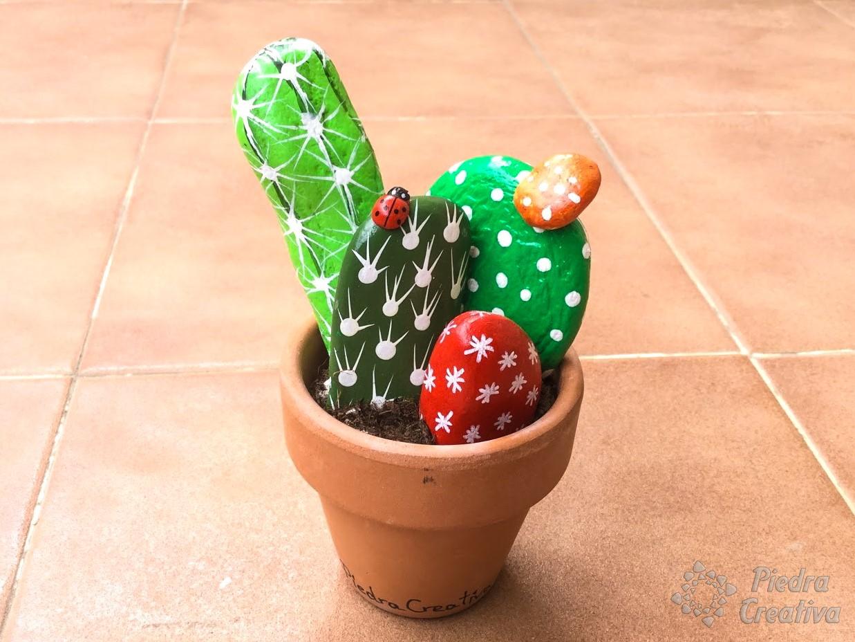 creando tus propios cactus con piedras