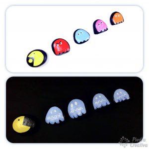 Manualidad de PacMan pintada en piedras