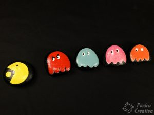 Painted pacman game stones craft