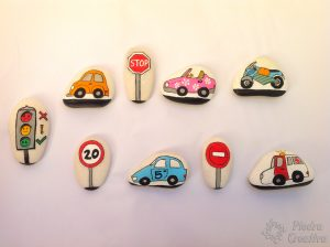 Cars painted on stones