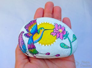 DIY painted stone Hummingbird