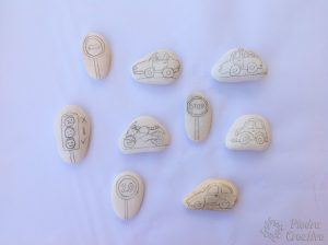 Stones drawn with pencil