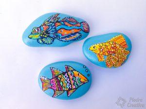 Peces de colores en piedras