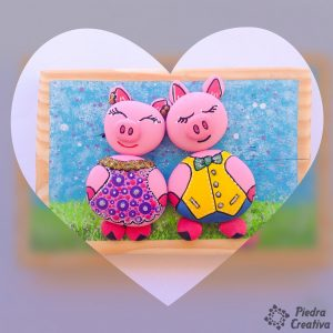 DIY Piglets in painted stones PiedraCreativa