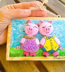 DIY Cuadro de cerdos pintados en piedras de PiedraCreativa