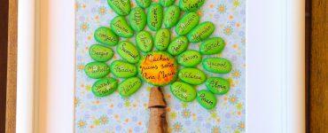 DIY Cuadro con piedras pintadas de nombres para profe Ana