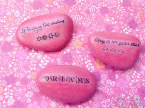 Pink stones with phrases