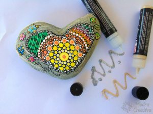 DIY heart mandala with glitter