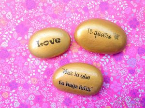 DIY stones painted with words with photo transfer