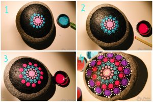 Step by step mandala in stone with PiedraCreativa