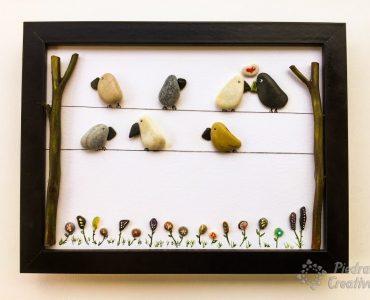 Cuadro de pájaros en piedras-PiedraCreativa