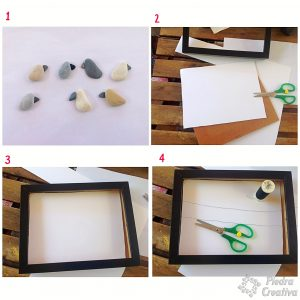 Step by step of the picture of birds - PiedraCreativa