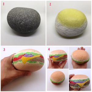 DIY step by step hamburger on painted stone