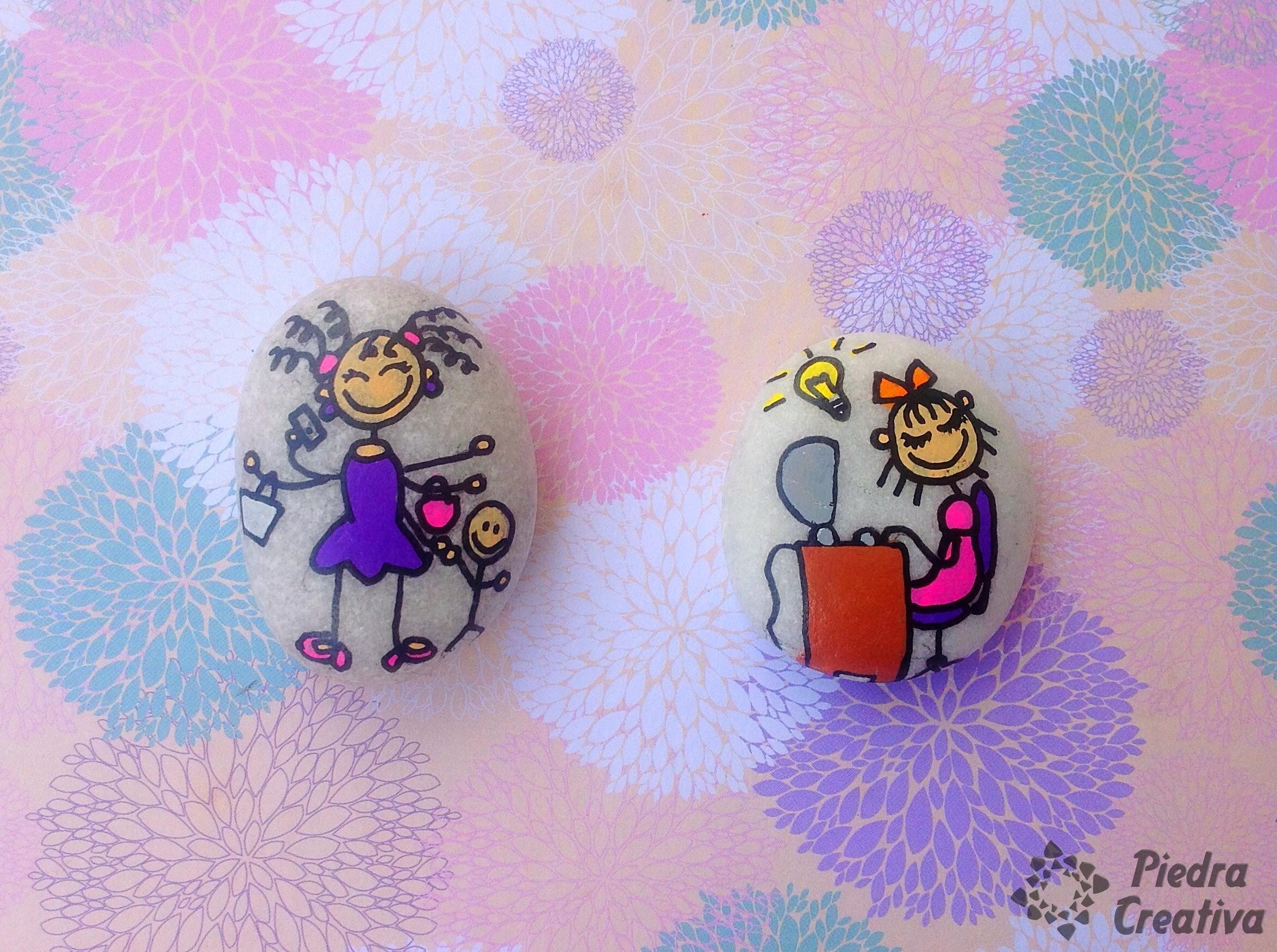 Mamá y bloguera en piedras pintadas