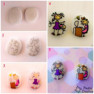 Step by step of mom and blogger on painted stones