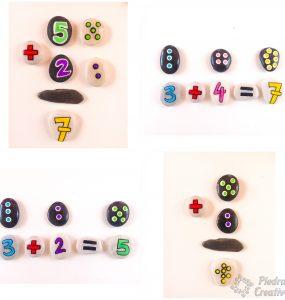 Aprender jugando a sumar y restar con piedras pintadas
