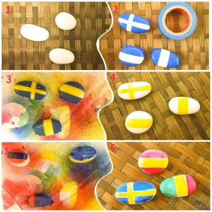banderas con piedras pintadas con spray 300x300 - Painting stones with water based acrylic spray paint ... does it work?