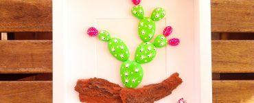 Cactus con piedras pintadas para cuadro por PiedraCreativa