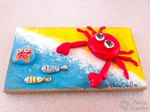 Picture with crab in rock painting. PiedraCreativa