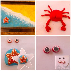 DIY crab and starfish on painted stones