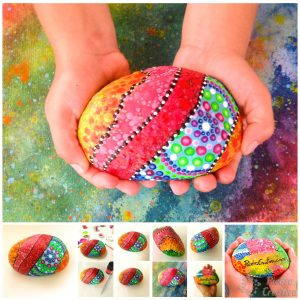 Painted rock door stop