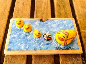 Ducks in rock painting in PiedraCreativa