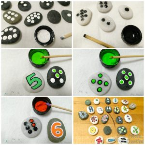 pasos para hacer puntos manualidad sumas y restas 300x300 - DIY number rocks - Educational games for kids