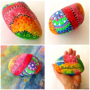 Painted Mandala Stones and Door Stop Details