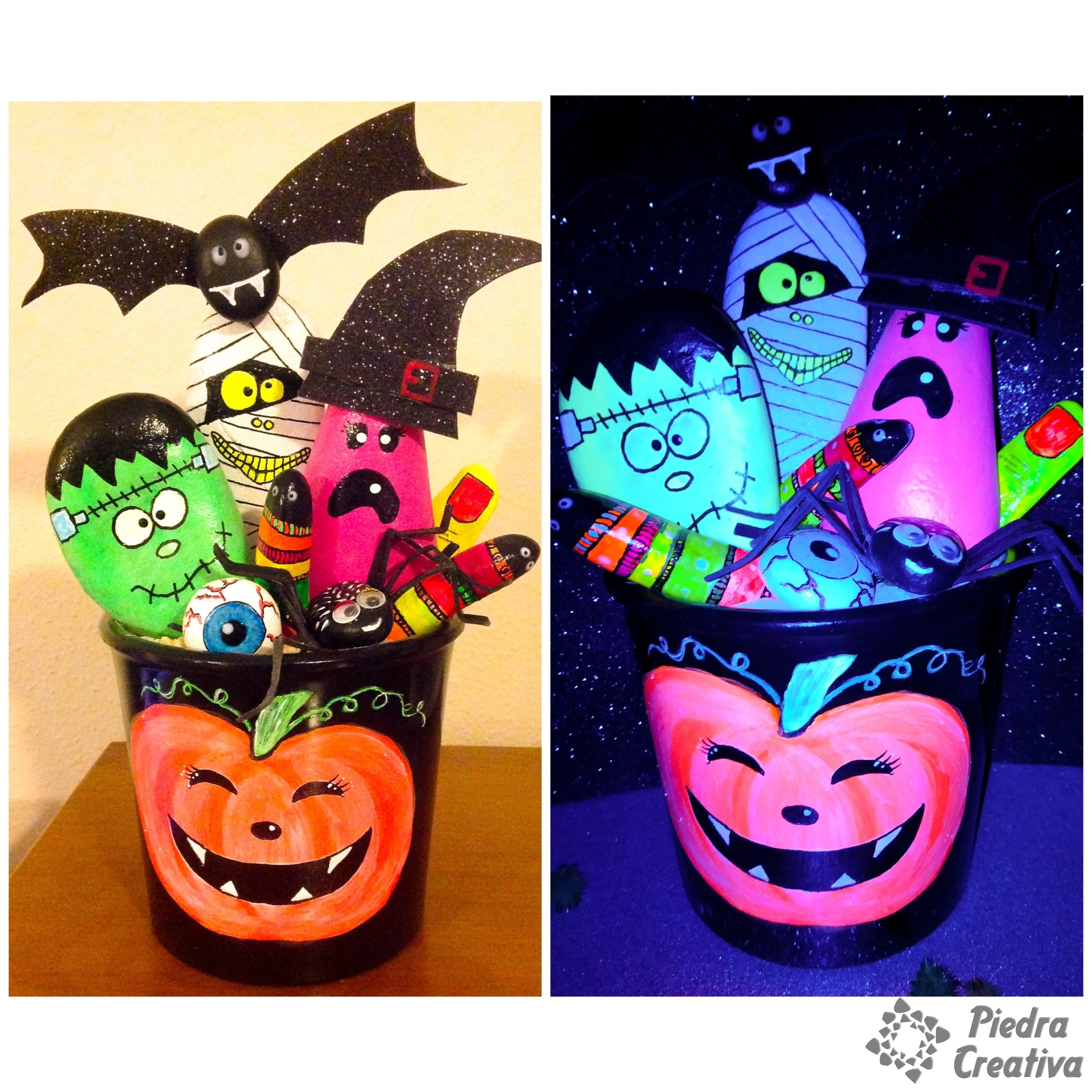 Monstruos de halloween en piedras piedracreativa - Pinturas para halloween ...
