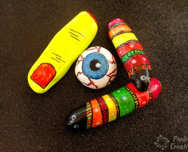 Stones painted with fluorescent paints of halloween