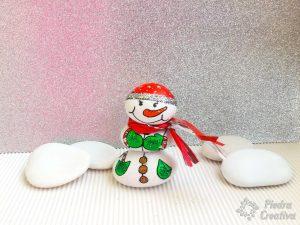 3D snowman stone painting